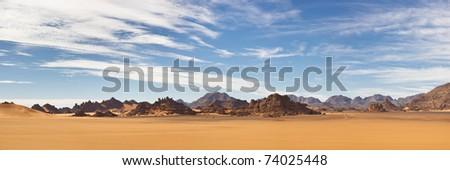 Akakus (Acacus) Mountains, Sahara, Libya - Panoramic View