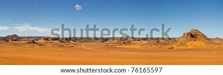Akakus (Acacus) Mountains, Sahara, Libya - Panoramic View