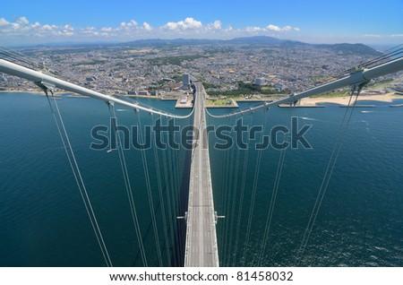 Akashi Kaikyo Bridge in Kobe, Japan, viewed from nearly 300 meters up.