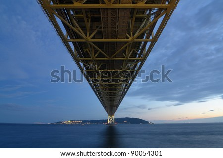 Akashi Kaikyo Bridge spans the Inland Seto Sea with the world's largest central span.