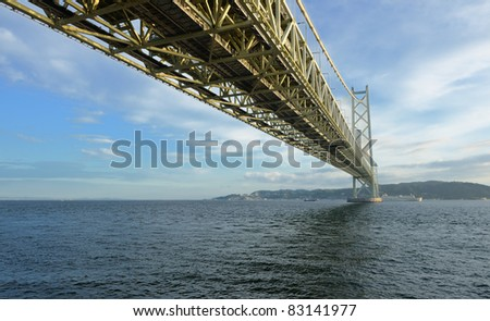 Akashi Kaikyo Suspension Bridge in Kobe, Japan. - stock photo