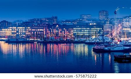 Aker Brygge in twilight, downtown Oslo, Norway.
