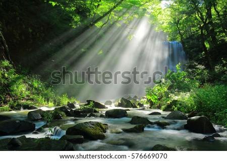 Akita Prefecture, kameda fudo waterfall #576669070