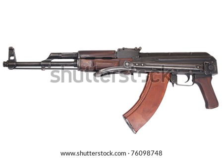 AKMS (Avtomat Kalashnikova) airborn version of Kalashnikov assault rifle on white