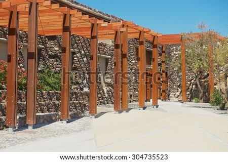AKROTIRI, GREECE - AUGUST 01, 2012: Exterior of the entrance to the Akrotiri archaeological site in Akrotiri, Greece.