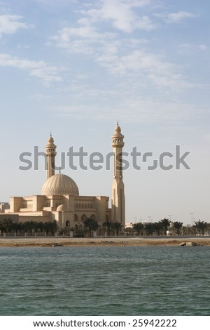 Al-Fateh Grand Mosque in Bahrain. A scene from seaside