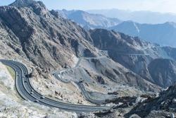 Al Hada Mountain in Taif City, Saudi Arabia with Beautiful View of Mountains and Al Hada road inbetween the mountains.