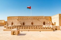 Al Hazm Fort in Rustaq, Oman. It is located about 175 km to the southwest of Muscat, the capital of Oman.
