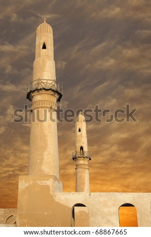Al Khamis mosque at sunset in Bahrain