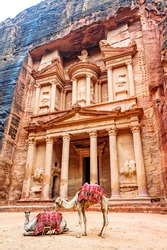 Al Khazneh in the ancient city of Petra, Jordan. It is known as The Treasury. Petra has led to its designation as a UNESCO World Heritage Site in 2007.