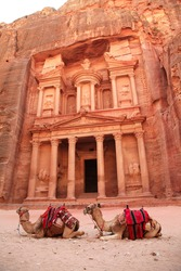 Al Khazneh in the ancient Jordanian city of Petra, Jordan. It is known as The Treasury. Petra has led to its designation as a UNESCO World Heritage Site and two camels are sitting behind the door