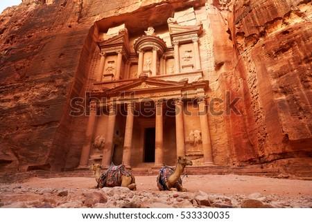Al Khazneh - the treasury, ancient city of Petra, Jordan Stock photo ©
