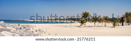 Al Mamzar Beach and Park. Panoramic view. United Arab Emirates