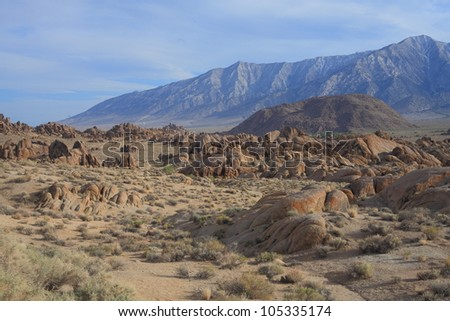 "Alabama Hills are a ""range of hills"" and rock formations near the eastern slope of the Sierra Nevada Mountains in the Owens Valley, west of Lone Pine in Inyo County, California."