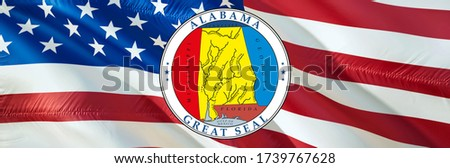 Alabama on United States flag waving in wind. Waving Flag United States Of America, 3d rendering. US flag union for Independence Day, 4th of july US American Flags Waving Full HD image.United flag