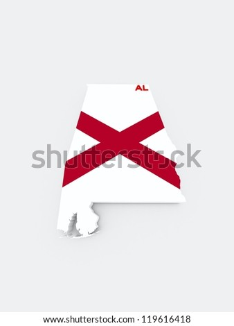 alabama state flag on 3d map