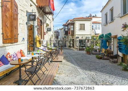 Alacati, Turkey - October 18, 2017 : Alacati street view in Alacati Town. Alacati is populer historical tourist destination in Turkey. #737672863