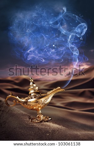 Aladdin magic lamp on a desert with smoke