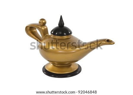 Aladdin's golden genie lamp isolated on white.