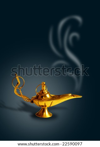 aladdin's magic lamp in black background with smoke #22590097