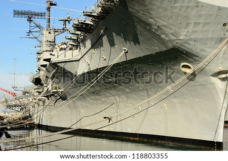 ALAMEDA, CA - NOVEMBER 11: Aircraft Carrier USS HORNET Museum Boat moored it is a national treasure, having participated World War II and the Apollo 11 space mission November 11 2012 Alameda, CA. - stock photo