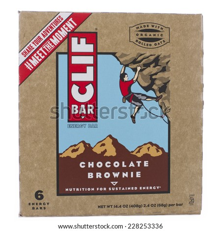 ALAMEDA, CA - NOVEMBER 03, 2014: 14.4 ounce box of Cliff brand Energy Bars. Chocolate Brownie Flavor. Six Energy Bars per box. Made with Organic Rolled Oats.