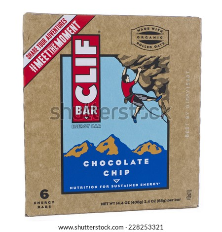 ALAMEDA, CA - NOVEMBER 03, 2014: 14.4 ounce box of Cliff brand Energy Bars. Chocolate Chip Flavor. Six Energy Bars per box. Made with Organic Rolled Oats.