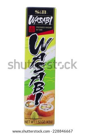 ALAMEDA, CA - NOVEMBER 06, 2014: 1.52 ounce tube of S&B brand Wasabi. Prepared in a tube.