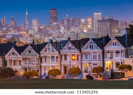 Alamo Square at twilight, San Francisco