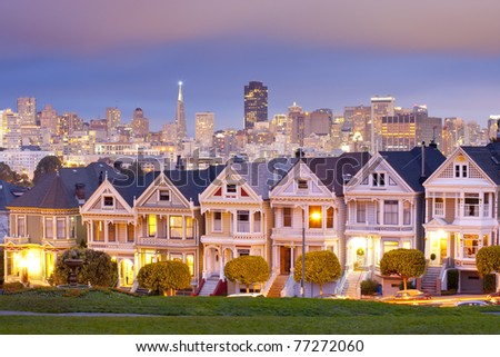 Alamo Square at twilight with clouds in the sky, San Francisco