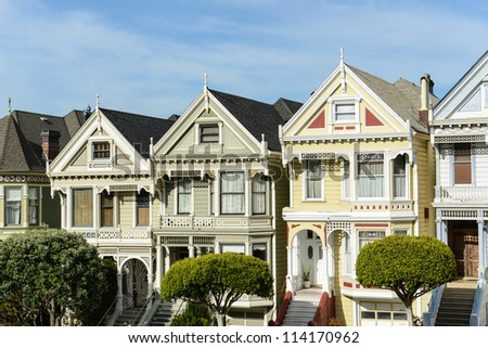 Alamo Square San Francisco - stock photo
