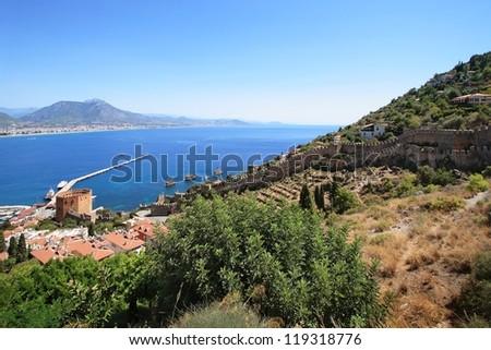 Alanya fortress wall, Turkey - stock photo