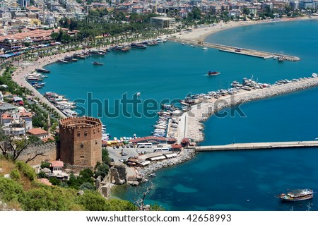 Alanyas' mediterranean coastline and Ottoman castle (Turkey)