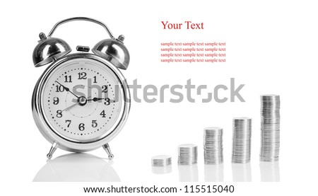 alarm clock and a pile of coins. concept of profit and business and financial growth. isolated on white background