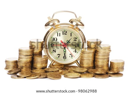 Alarm clock and money isolated on white - stock photo