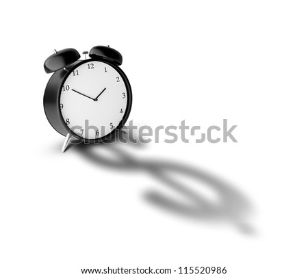 Alarm clock and shadow in form of dollar