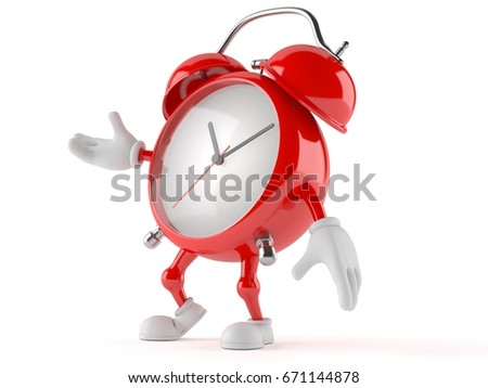 Alarm clock character isolated on white background. 3d illustration
