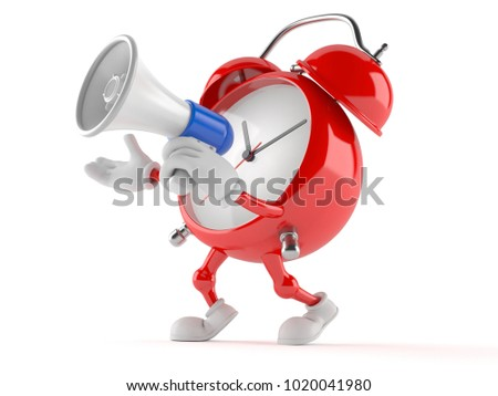 Alarm clock character speaking through a megaphone isolated on white background. 3d illustration