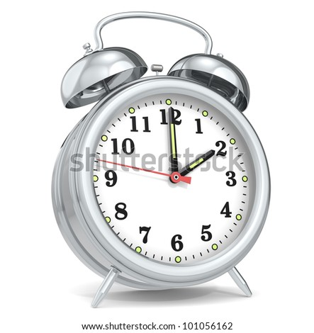 Alarm Clock. Classic alarm clock. Metal.