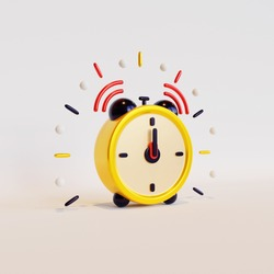 Alarm clock 3D rendering, suitable for New Year event celebration.