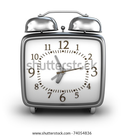 Alarm clock. Front view. Isolated on white