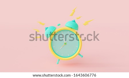 Alarm clock green and yellow color with clipping path on the pink. Alarm at 08.00.  pastel background. 3D Render.