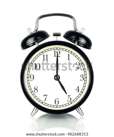 Alarm Clock isolated on white, in black and white, showing five o'clock.
