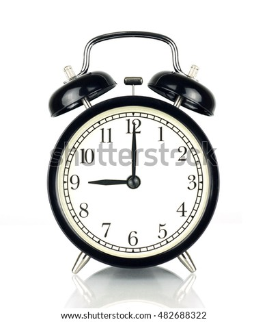 Alarm Clock isolated on white, in black and white, showing nine o'clock.