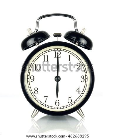 Alarm Clock isolated on white, in black and white, showing six o'clock.