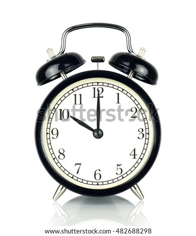 Alarm Clock isolated on white, in black and white, showing ten o'clock.