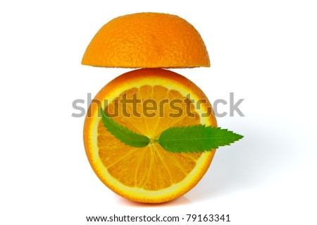 alarm clock made of orange, isolated on white