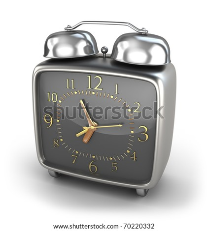 Alarm clock old style isolated on white