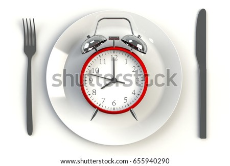 Alarm clock on plate, knife and fork on white table, 3D rendering #655940290