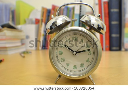 alarm clock on study desk